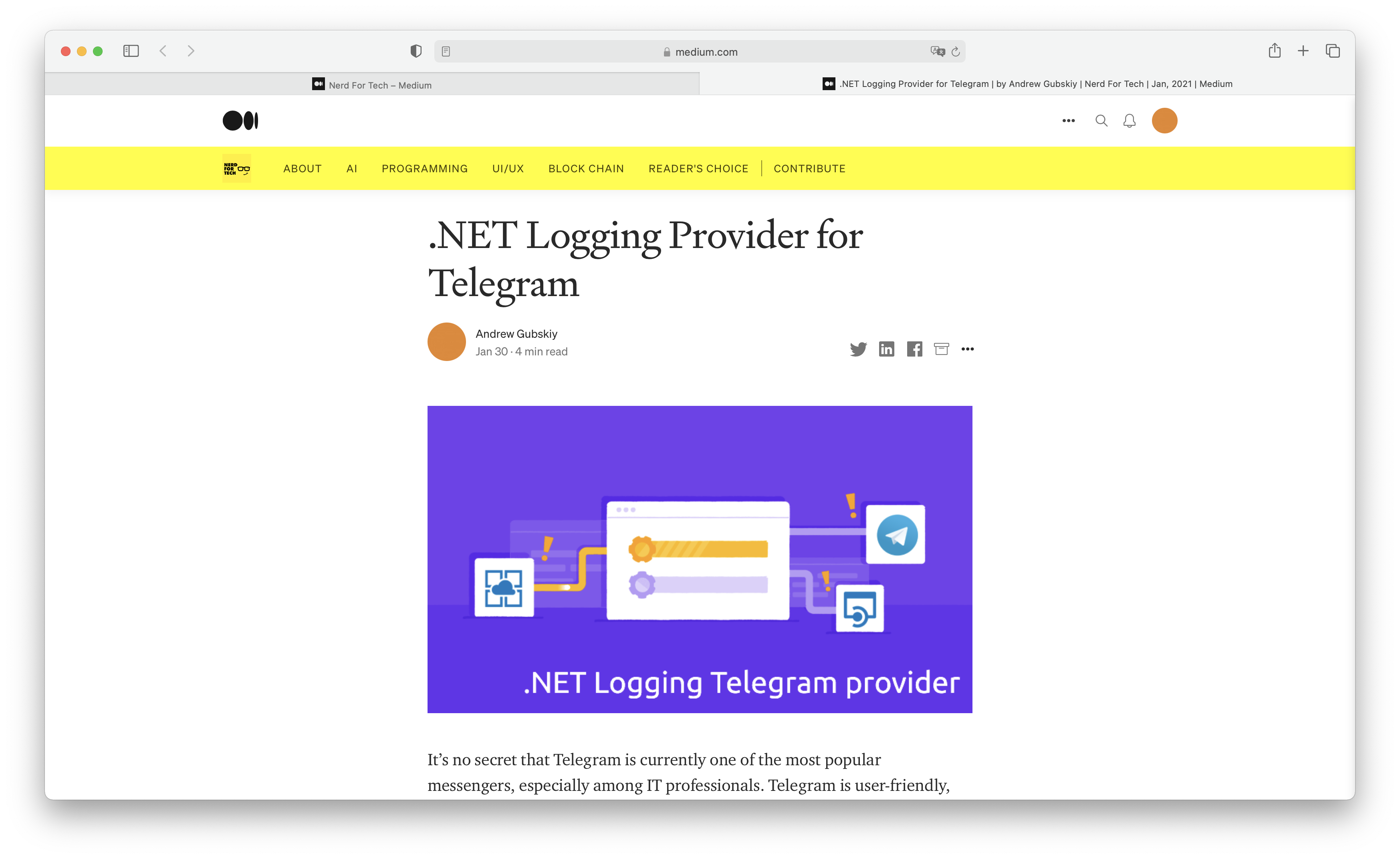.NET Logging Provider for Telegram